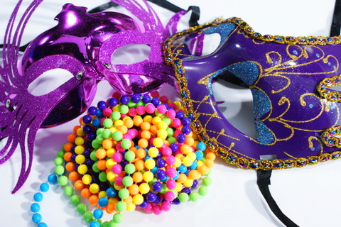 The masks I wore for my Mardi Gras Cooking Class