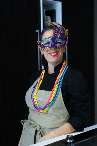Me!  Dressed up for Mardi Gras during my themed cooking class