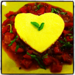 Quick Recipe: I [heart] Saffron Polenta on a bed of Spicy Tomato Salsa and Basil