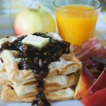 Hooray for Brunch!  – Fluffy Belgian Apple Waffles with Apple Cinnamon Pecan syrup